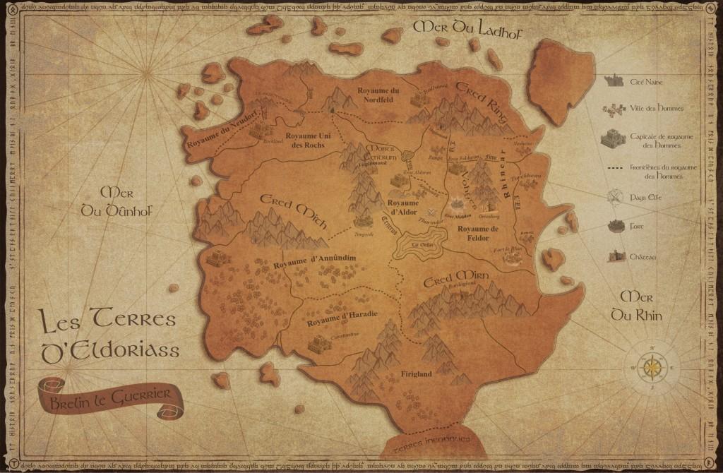 Carte d'Eldoriass dans Brelin le Guerrier